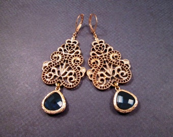 Blue Bezel Earrings, Victorian Lace, Gold Dangle Earrings, FREE Shipping U.S.
