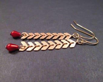 Chevron Chain Earrings, Red Glass Pearl Earrings, Gold Dangle Earrings, FREE Shipping U.S.