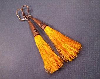 Silk Tassel Earrings, Bright Orange and Copper Dangle Earrings, FREE Shipping U.S.