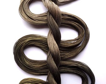 "Size 10 ""Khaki"" hand dyed thread 6 cord cordonnet tatting crochet cotton"