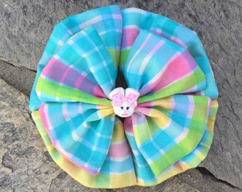 Easter Fabric Hair Bow,Fabric,French Barrette,2 Layers,4.5 Inches Wide,Ready to Ship