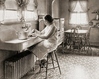 Vintage Woman  Kitchen Cooking Clip Art Printable Art  Decoupage Paper Instant Download Digital Graphics Commercial Use