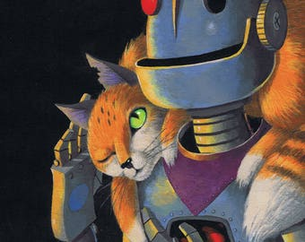 Robots Love Cats - Fits 11 x 14 Mat - Limited Editon Giclee Print From an Original Painting by Annie Lunsford - Robot Art Spoiled Orange Cat