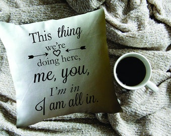 Gilmore Girls throw pillow cover/ Gilmore Girl's fan gift/ Luke Danes quote/ This thing we're doing here/ Stars Hollow