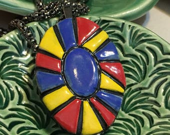 Pendant Necklace Stoneware Ceramic Red Yellow Blue Black Great Gift with Chain Ready to Ship PNT0022