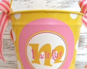 ON SALE 10 Quart Personalized Easter Pail Basket