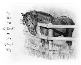 Horse Drawing, Horse Looking Over Fence, No, It's Not Greener On the Other Side, Draft Horse, Realism Art, Inspirational, WHOA Team