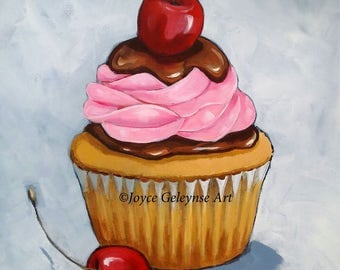 "CUPCAKE: Original Painting, Acrylic, 16"" by 20"", Large Cupcake Painting, Kitchen, Restaurant Decor Idea, Pink Icing, Chocolate, Cherry"