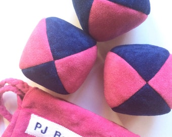 110g - 3 soft JUGGLING BALLS With Bag - Dark Blue and Fuschia Pink PJ Balls