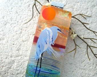 Heron Necklace, Dichroic Jewelry, Fused Glass Jewelry, Bird Paradise Necklace, Dichroic Jewelry, Bird Sanctuary,Silver Necklace,  041717p100