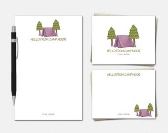 Camp Stationery Set - Pine Forest Camp Stationery - PINK or BLUE - Stationary for Kids - Personalized Camp Stationery Set