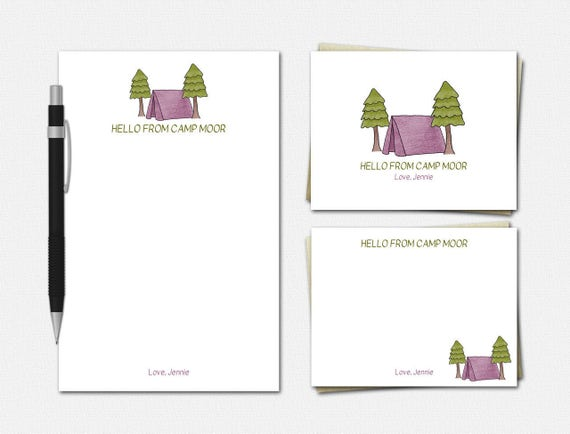Personalized Camp Stationery Set for Girls