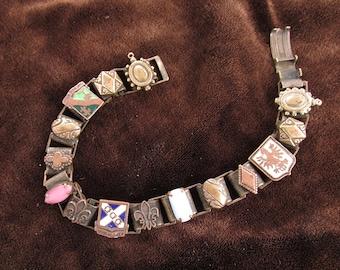 Vintage Bookchain Bracelet US Army Distinctive Unit Insignia Enameled Crests Fleur De Lis Prong Set Jewels