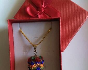 Easter Egg Pendant, Fabergé Inspired Egg Pendant, 18x 24 mm Beadwoven Beaded Wooden Egg, Indigo Orange, Easter Egg Jewelry by enchantedbeads
