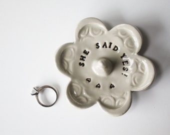Stamped Clay Ring Holder, She said yes, Taupe Glaze, Ceramic Pottery, Ready to Ship