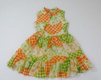 Girls Vintage Dress, Orange & Green Gingham Floral Retro Mod Girls Party Dress, Cinderella Brand Size 10 Girls Dress