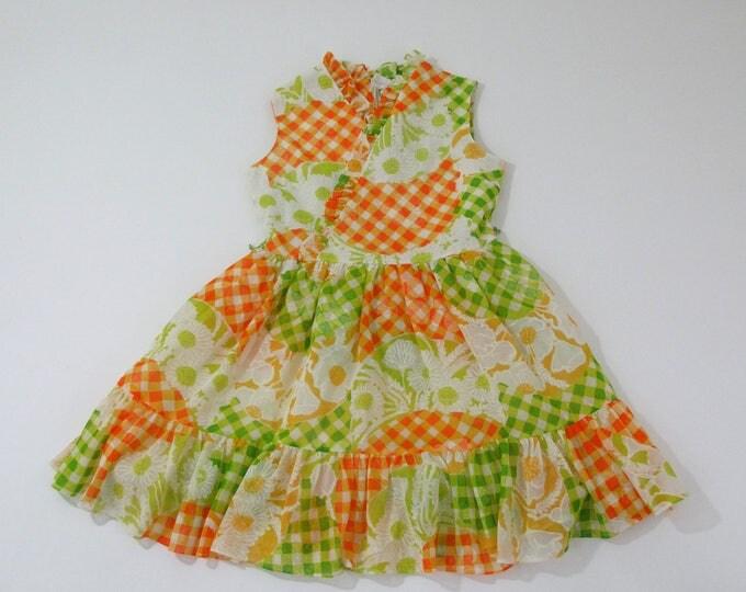 Girls Vintage Dress, Orange & Green Gingham Floral Retro Mod Girls Party Dress, Cinderella Brand Size 10 Girls Dress