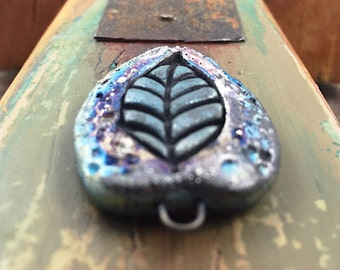 Raku Leaf Ceramic Connector Bead Jewelry Supply Handmade by MAKUstudio
