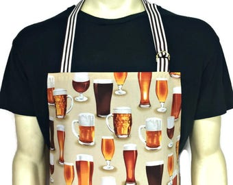 Craft Beer Apron , Beer Mugs and Pint Glasses , Professional Chef Apron , Brewery / Kitchen Decor / Home Brewer