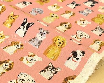 Japanese Fabric Kokka Animal World - dogs - salmon pink - 50cm