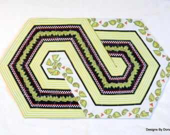 Quilted Reversible Table Runner, Table Topper, Table Quilt, Triangle Frenzy Swirl, Green Leaves, Handmade Table Linens