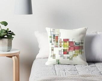 Mid Century Modern, Throw Pillow Cover, Modern Pillow Cover, Art Pillow, Modern Pillow, Retro Pillow, Geometric Pillow, Cream Pillow