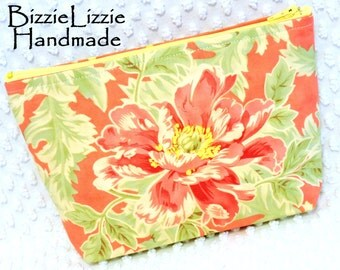 Poetry Fabric Large Flat Bottom Cosmetic Bag, Ladies Large Handmade Cosmetic Pouch, Shabby Cottage Chic Make Up Bag