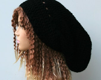 Long slouchy beanie, Dread Tam hat, black or choose color, very slouchy hat, Dreadlocks beanie, sock snood tam, man woman beanie hat, slouch