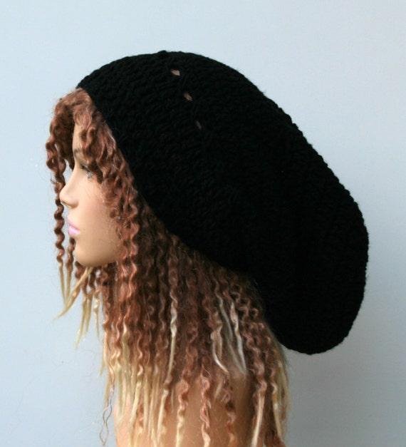 Long slouchy beanie, Dread Tam hat, black or choose color, very slouchy hat, Dreadlocks beanie, sock snood tam, man woman beanie hat, slouch