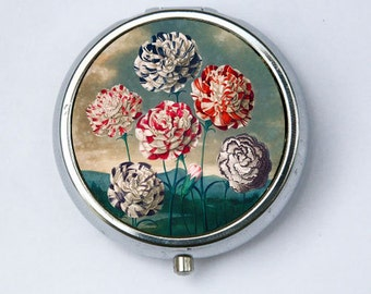 Carnations Flower Pill Case pillbox holder botanical