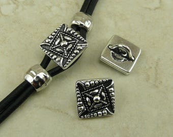 TierraCast Small Czech Square Button > Abstract Pattern Ethnic Quilt - Fine Silver Plated LEAD FREE Pewter - I ship Internationally 6545