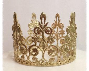 Metallic Gold Lace Crown Photo Prop, Birthday Crown, Cake Topper