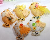 Pick-A-Chick Sunny Yellow Chickadee Quilty Critters (1 per) OOAK, Folk Art, Ornament, Easter, Springtime