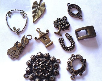 10pc mix style antique bronze finish metal findings-8113e