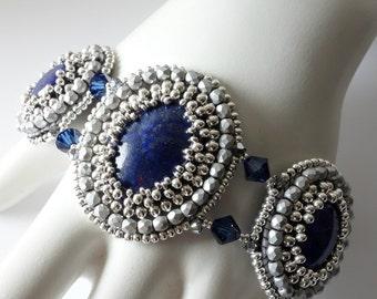 Lapis Lazuli Bracelet and Earrings, Cabochon Bracelet, Cabochon Earrings, Blue and Silver Jewelry, Gemstones, Beaded Jewelry, OOAK
