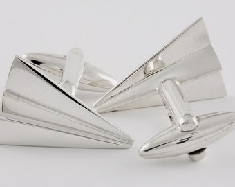Paper Plane Cufflinks, Sterling Silver, personalized