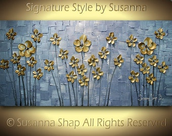 ORIGINAL Metallic Abstract Painting Blue Gold Flowers Large Modern Art Landscape Thick Texture Palette Knife Painting by Susanna 48x24
