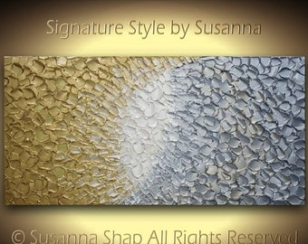 ORIGINAL large impasto textured metallic gold and silver abstract painting, modern contemporary palette knife artwork by susanna 48x24 M2O*