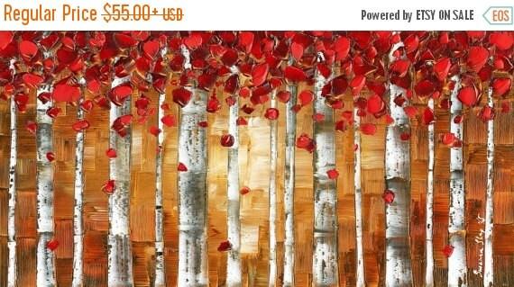 Red Birch Trees PRINT on Canvas Wall Art Landscape Aspen Forest Giclee Large Modern Wall Decor Abstract Art Susanna