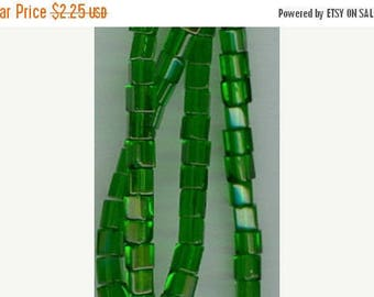 CLEARANCE 4mm Christmas Green Glass Cube Beads 16 inch Strand 4x4mm Bead Cubes