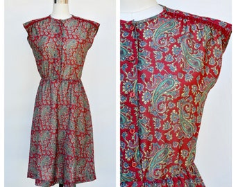 1980s paisley print fitted dress / small-medium