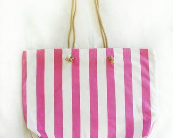 XL travel tote in candy pink wide stripes, large reversible vacation beach bag, huge shoulder bag, reclaimed fabric with vintage rose lining