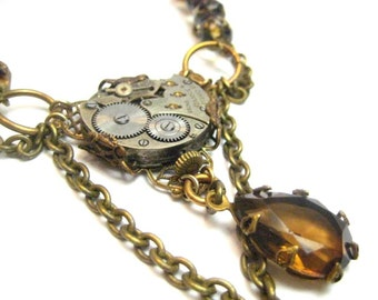 Coppery Elegance ... Steampunk Victorian Watch Movement Necklace, Crystal and Copper Victorian Elegant Steampunk Necklace, One of a Kind