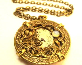 Butterfly Moon ... Steampunk Victorian Butterfly Pendant One of a Kind