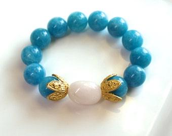 Little Luxe Simple Stacking Stretch Bracelet in Aquamarine Quartz, Rose Quartz and Gold Vermeil...