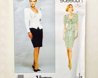 Vintage 90s Bellville Sassoon Vogue Designer Original Pattern Top & Skirt Giant Bow Uncut Size 12 14 16 Vogue 2681