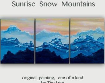 Mountain skyline oil painting Mountain skyline Art black n white art on wood framed stretched linen canvas Ready to hang by tim Lam 48x24