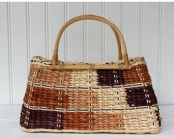 BIG SALE - Woven Basket Purse - Patchwork Design with Handle - Vintage Straw Rattan Bag