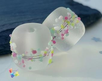 Lampwork Glass Beads Delightful Blossom Barrel Pair
