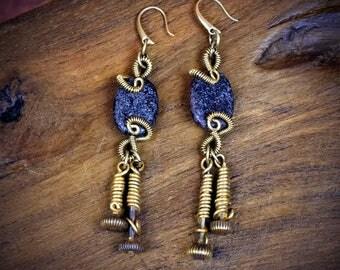 Raw Stone Earrings - Steampunk Jewelry - Rustic Earrings Raw Stone Jewelry - Brass Earrings - Gypsy Earrings Stone earrings - Edgy Earrings